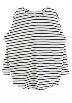 White Striped Round Neck Bat Sleeve Cotton T-Shirt