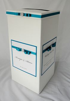 Teal green and crystal decoration on a wedding post box