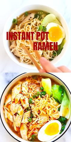 This Instant Pot Ramen is delicious, with tender chicken, gooey ramen eggs and vegetables in a hearty chicken soup. Spice up the ramen noodles with chili oil for an extra kick. This is comfort food in a jiffy and takes only 15 mins in the pressure cooker. Instant Pot Dinner Recipes, Easy Soup Recipes, Vegetarian Recipes, Chicken Recipes, Cooking Recipes, Healthy Recipes, Vegetarian Ramen, Hamburger Recipes, Ramen Noodle Recipes Chicken