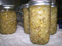 I decided to make relish with all the squash I have hanging around. 4 cups grated zucchini, 3 cups finely chopped red or green bell pepper, 2 1/2 cups grated crookneck squash, 1/2 cup finely chopped yellow onion, 2-1/4 cups white vinegar, 1 cup sugar, 2 tbsp pickling spice, 2 tsp canning salt. (Optional: Pinch of red pepper flakes and 1 clove minced garlic.) Bring it to a boil, reduce heat and simmer for 10 minutes. Refrigerate for several days before using or can it and wait a couple of…