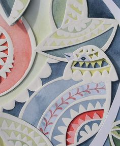 Louise Jenkins: Bird detail. Paper cutting, at least four layers. Gouache, and some small piercings done with a manual hole punch and hammer.