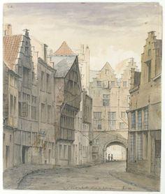 De Palingbrug naar de Vismarkt toe, aquarel by musea stad Antwerpen, via Flickr