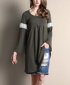 Look what I found on #zulily! Olive Embroidery-Sleeve Empire-Waist Dress #zulilyfinds