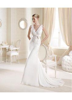 CHARMING CHIFFON SATIN V-NECK NATURAL WAISTLINE A-LINE WEDDING DRESS SEXY LADY LACE FORMAL PROM BRIDESSMAID
