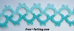 free tatting patterns [GT: turn in chain] Tatting Armband, Tatting Bracelet, Tatting Lace, Tatting Jewelry, Crochet Jewellery, Grannies Crochet, Crochet Motif, Crochet Yarn, Crochet Patterns