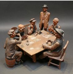 """Poker Players"" - 1934 carved by Emil Janel http://www.gamblingcity.com/?AD=DeePinterest #poker I #art"