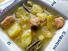 Receta paso a paso de patatas con almejas y salmón, una deliciosa alternativa a las tradicionales patatas con pescado.