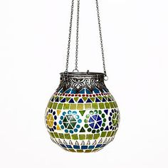 Multicolored Mosaic Hanging Lantern  ~ I think I could possibly make one of these