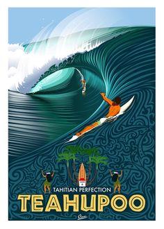 Gigantic waves in Teahupoo - French Polynesia Tahiti Vintage Surfing, Surf Vintage, Retro Surf, Poster Surf, Retro Poster, Surf Mar, Plakat Design, Surfboard Art, Wave Art