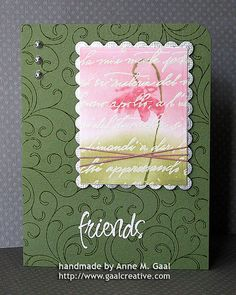 handmade card ... Friends Flower Card ... big postage stamp panel on a green card ... luv the soft colors and script on the stamp element ...
