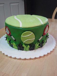 Tennis themed cake Tennis Cake, Tennis Party, 65th Birthday, Birthday Parties, Birthday Cakes, Happy Birthday, Sport Cakes, Food Themes, Themed Cakes