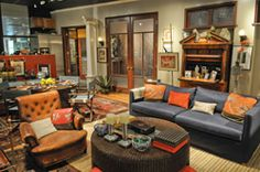 Biedermeier secretary from Will's apartment from Will & Grace Living Room Tv, Cozy Living Rooms, Tv Set Design, Small Condo, Will And Grace, Modern Victorian, Home Tv, Living Room Designs, House Design