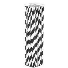 BLACK & WHITE Papiertrinkhalme (50St.) - 4,99