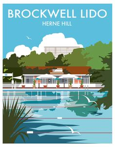 "East Urban Home Poster ""Brockwell Lido, Herne Hill, London"" von Dave Thompson, Retro-Werbung Posters Uk, Railway Posters, Poster Ads, Portsmouth, Poster Series, Vintage Travel Posters, Poster Vintage, Illustrations, Graphic Art"