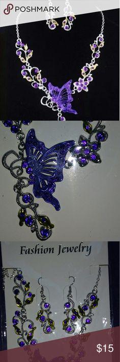 "Butterfly Necklace Earring Set Flower Jewelry Purp Formal fashion jewelry. Purple butterfly with green flower accents. Dangle drop earrings & pendant necklace.  Necklace Length - 18"" with 1.5"" extender Earrings - 2"" Jewelry Necklaces"