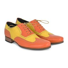 Scarpe Classiche Uomo Bicolore Arancio Giallo Vintage Men s Shoes Full Brogue