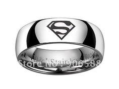 送料無料ブランドの新男性は男の子8mmのステンレス鋼の快適スーパーマン8〜13str11リングサイズ
