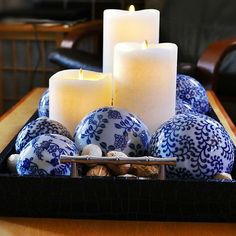 We might have to move this beautiful #chinoiserie centerpiece so that there's room for the snacks on #gameday!  Get the look using Matrix Flame flameless candles in the classic white color.  Set of 3 includes batteries and remote control.  Shop the look v