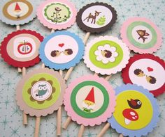 Woodland Cupcake Toppers 004-- Set of 12. $7.50, via Etsy.