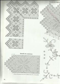 Home Decor Crochet Patterns Part 14 Love Crochet, Hand Crochet, Crochet Lace, Filet Crochet Charts, Crochet Borders, Crochet Collar Pattern, Crochet Patterns, Knit Edge, Fillet Crochet