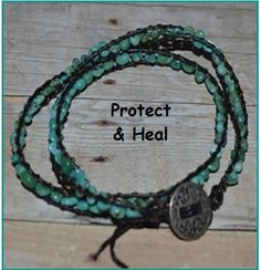 Turquoise Leather Healing Double Wrap Bracelet by CrystalMeB