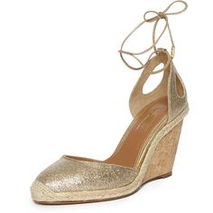 Aquazzura Palm Beach Metallic Espadrille Sandal ($299) ❤ liked on Polyvore featuring shoes, sandals, nude, shoes wedges, woven wedge sandals, beach sandals, braided sandals, wedge heel sandals and nude wedge shoes