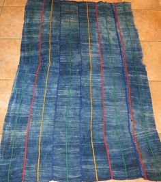 "Vintage Dogon,Mali Indigo Dyed Fabric/Hand Woven Cotton Strips/37""x 57"""