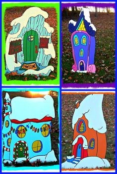Grinch Yard Art, Set of Four Who Houses, HUGE SIZE!!!! All over 5ft. TALL!!!!