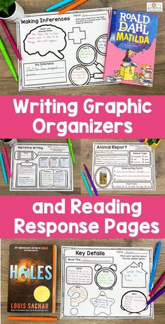 Reading and Writing Graphic Organizers UPPER Elementary Narrative Writing, Informational Writing, Writing Practice, Writing Skills, Writing Graphic Organizers, 4th Grade Classroom, Reading Workshop, Class Activities, Any Book