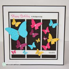 Colorful butterflies on 3 panels of black.  Freshly Made Sketches: Freshly Made Sketches #124