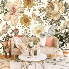 Removable Floral Wallpaper Mural Peel and Stick, Wildflowers Wallpaper Self Adhesive Peel and Stick Wallpaper Nursery Mural for Girls #187