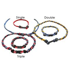 Rope Bracelets and Necklaces-Single Double or Triple Braided Custom Imprinted from www.schoolspiritstore.com