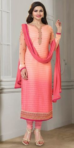 Prachi Desai In Pink And Multi-Color Georgette Straight Suit With Dupatta.