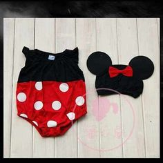 Mickey mouse and minnie mouse outfit onesie with hat.