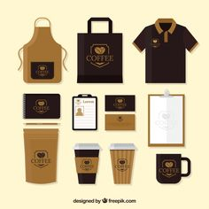 Merchandising pack of cafe and stationery Free Vector Coffee Shop Branding, Coffee Shop Business, Coffee Shop Logo, Cafe Branding, Cafe Logo, Coffee Packaging, Branding Design, Food Cart Design, Food Truck Design
