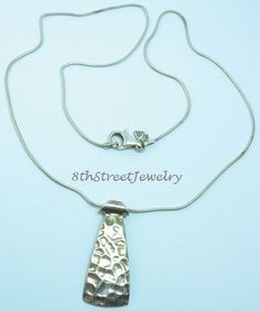RETIRED N1592 Silpada Hammered Tie-shaped pendant Sterling Silver 925 Necklace #Silpada #Necklace