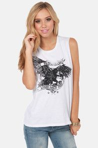 Obey Where the Eagles Dare Ivory Print Muscle Tee #lulusrocktheroad