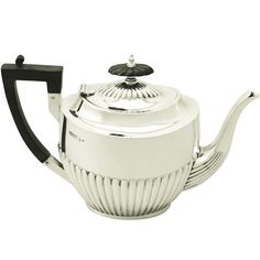 Antique Edwardian Sterling Silver Teapot, Queen Anne Style | From a unique collection of antique and modern tea sets at https://www.1stdibs.com/furniture/dining-entertaining/tea-sets/