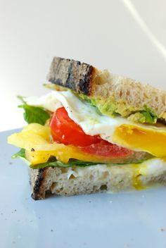burrata, basil and crispy egg sandwich.