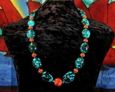 Turquoise Statement Necklace Chunky by ByDivineCollectibles