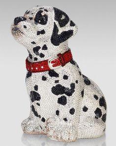 Judith Leiber Dalmatian Puppy Crystal Minaudiere Clutch