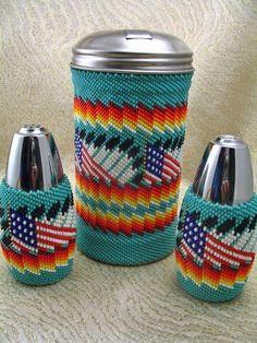 Sage Dunn Paiute Woven Seed Bead Sugar Salt Pepper Shakers Nixon NV