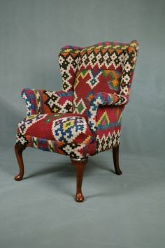 Handwoven Vintage Wool Kilim Wingback Armchair sofa chair