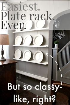 The Easiest DIY Plate Rack Ever - The Creek Line House by joeharley aufbewahrung garten kleidung kosmetik wohnen it yourself clothes it yourself home decor it yourself projects Wooden Plate Rack, Plate Rack Wall, Diy Plate Rack, Plate Shelves, Wooden Plates, Plates On Wall, Plate Storage, Diy Kitchen, Kitchen Decor
