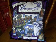 Embellished Personalized memory photo senior cheerleader autograph pillow. $45.00, via Etsy.
