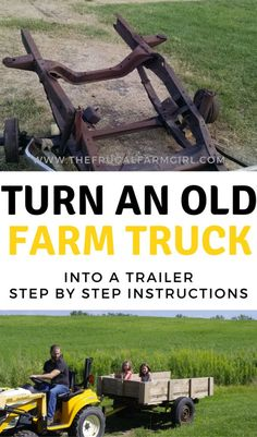 Need a trailer around the homestead? We found an old farm truck in the woods and turned it into a functioning trailer. Learn how you can too for free! Welding Projects, Diy Wood Projects, Farm Trucks, Old Farm Equipment, Frugal Living Tips, Chickens Backyard, Survival Tips, Farm Life, Step By Step Instructions