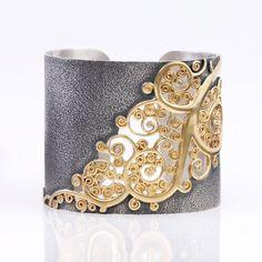 Neda Behnam -Open Scroll Cuff silver and gold cuff