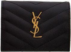 Saint Laurent Black Monogramme Flap Card Holder Best Purses, Black Handbags, All In One, Saint Laurent, Saints, Card Holder, Brooch, Fashion Tips, Collection