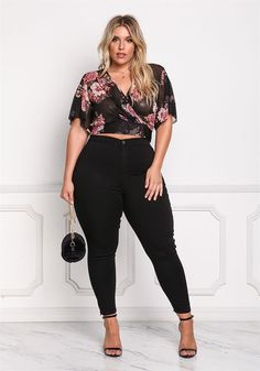 Plus Size Clothing | Plus Size Floral Mesh Tie Back Crop Top | Debshops