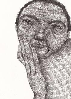 Very interesting ORIGINAL ILLUSTRATION / Black on white / by Tosya, $65.00